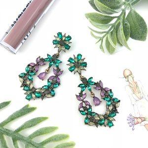"""""""Chelsea"""" Drop Crystal Earrings - Green & Lavender"""
